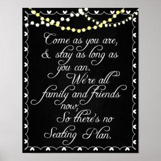 Chalkboard Wedding Seating Plan Poster