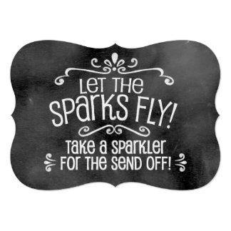 "Chalkboard Wedding Sign: Sparkler Send Off 5"" X 7"" Invitation Card"
