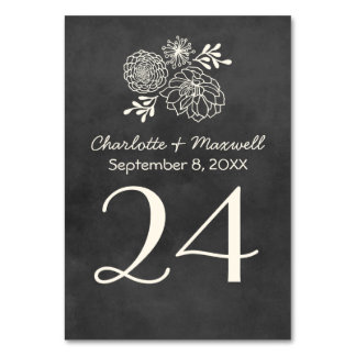 Chalkboard Wedding Table Number Card Tablecard