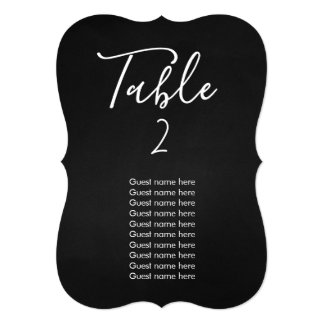 Chalkboard wedding table number + guest names card