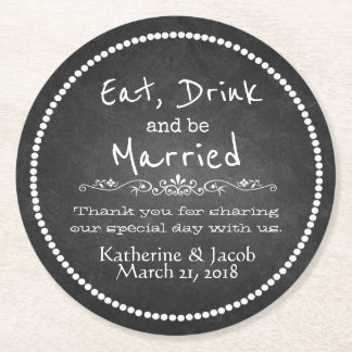 Chalkboard Wedding Thank You Favor Paper Coaster