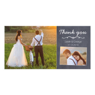 Chalkboard Wedding Thank You Photo Card