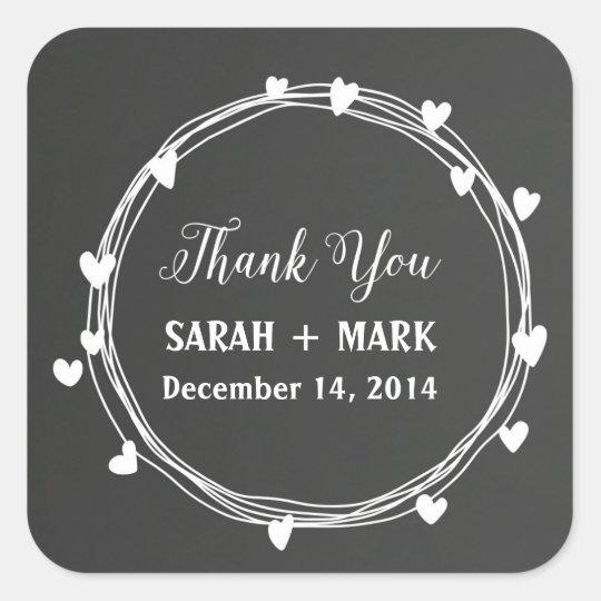 Chalkboard Wedding Thank You Stickers
