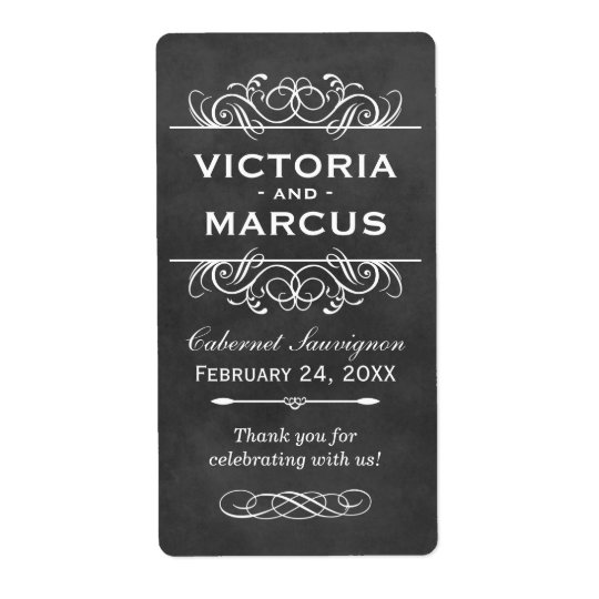 Chalkboard Wedding Wine Bottle Favour Labels
