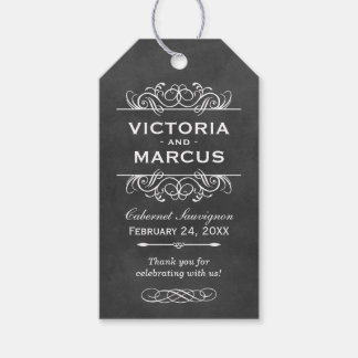 Chalkboard Wedding Wine Bottle Monogram Favor Tags Pack Of Gift Tags