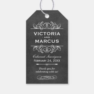 Chalkboard Wedding Wine Bottle Monogram Favour Pack Of Gift Tags