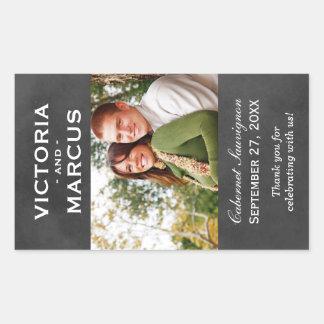 Chalkboard Wedding Wine Bottle Monogram Favour Sticker