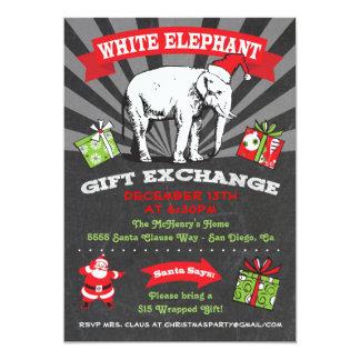 "Chalkboard White Elephant Gift Exchange Inviation 5"" X 7"" Invitation Card"