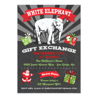 Chalkboard White Elephant Gift Exchange Inviation Card