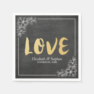 Chalkboard White Floral Frame Gold Script Weddings Paper Napkin
