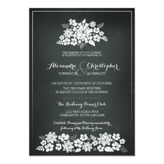 Chalkboard White Flowers Vintage Wedding Card