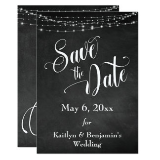 Chalkboard, White Lights & Script, Save the Date Card