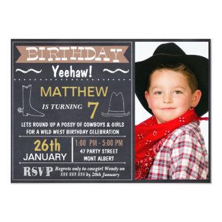 Chalkboard Wild West Photo Birthday Invitation