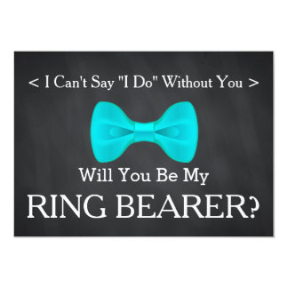 "Chalkboard Will You Be my Ring Bearer 5"" X 7"" Invitation Card"