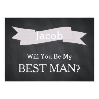 "Chalkboard Will You Be Our Best Man 5"" X 7"" Invitation Card"