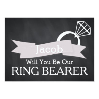 "Chalkboard Will You Be Our Ring Bearer 5"" X 7"" Invitation Card"