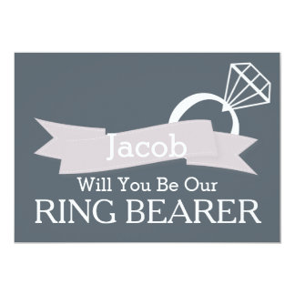 """Chalkboard Will You Be Our Ring Bearer 5"""" X 7"""" Invitation Card"""