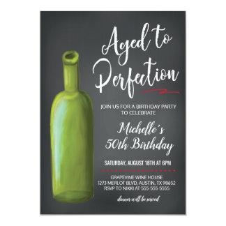 Chalkboard Wine Birthday Invitation