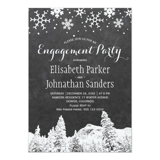 Chalkboard winter wonderland engagement party card
