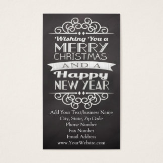 Chalkboard Wishing You Merry Christmas Business Card