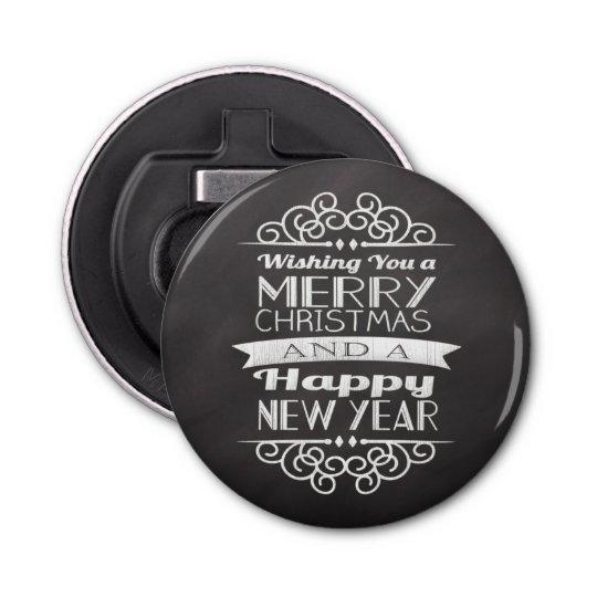 Chalkboard Wishing You Merry Christmas Button Bottle Opener