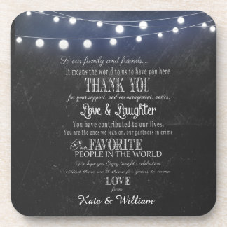 Chalkboard with lights  favors Thank you coaster
