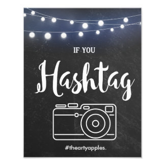 Chalkboard with lights Hashtag sign