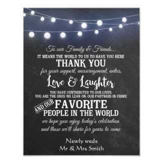 Chalkboard with lights wedding Thank you sign