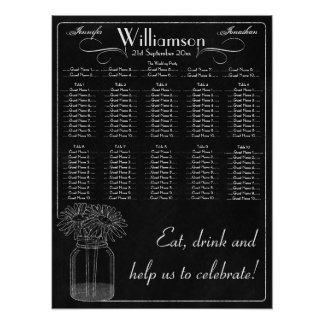 Chalkboard with Mason Jar & Daisy Wedding Seating Poster