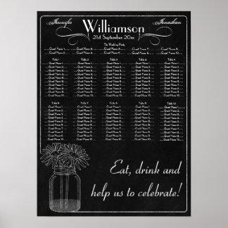 Chalkboard with Mason Jar & Daisy Wedding Seating Poster
