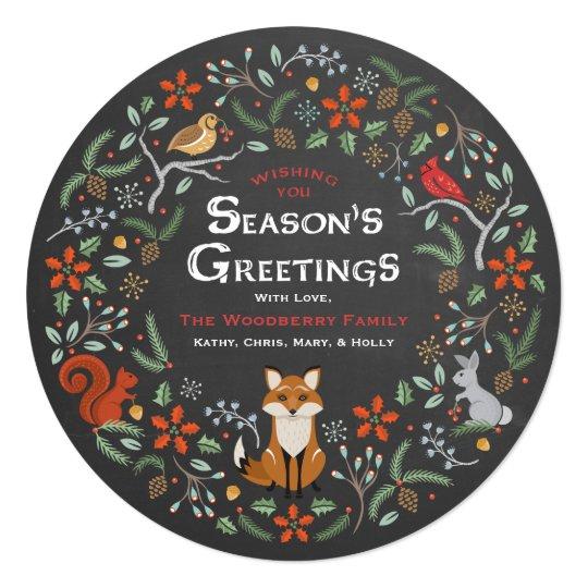 Chalkboard Woodland Wreath Christmas Photo Card