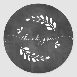 Chalkboard Wreath Thank You Sticker