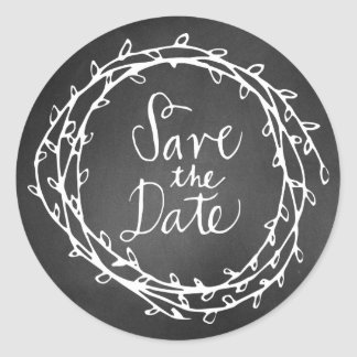 Chalkboard Wreath Wedding Save the Date Sticker
