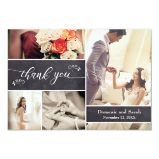 Chalked, 4 Photo Collage Rustic Wedding Thank You Card