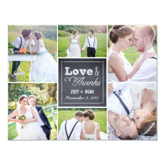 "Chalked Collage Wedding Photo Thank You Card 4.25"" X 5.5"" Invitation Card"