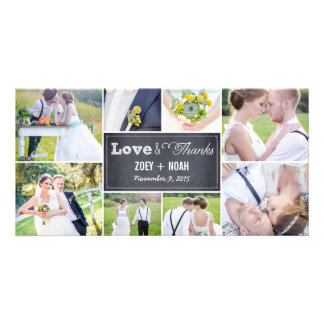 Chalked Collage Wedding Thank You Photo Cards Personalized Photo Card