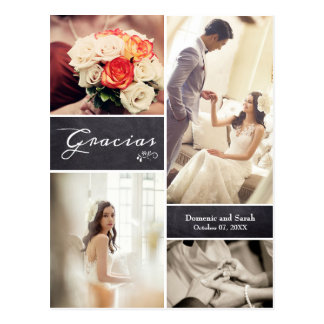 "Chalked Photo Collage Rustic Wedding ""Gracias"" Postcard"