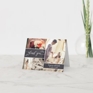 Chalked Photo Collage Rustic Wedding Thank You