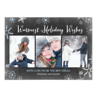 "Chalked Snowflakes Holiday Photo Card 5"" X 7"" Invitation Card"