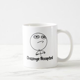 Challenge Accepted Black & White Text Coffee Mug