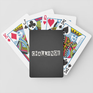 Challenge word concept. bicycle playing cards