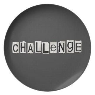 Challenge word concept. plate