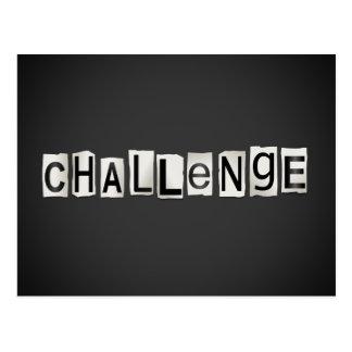 Challenge word concept. postcard