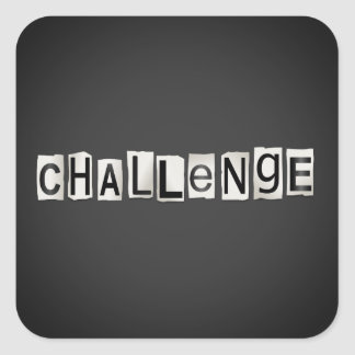 Challenge word concept. square sticker