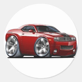 Challenger Maroon Car Classic Round Sticker