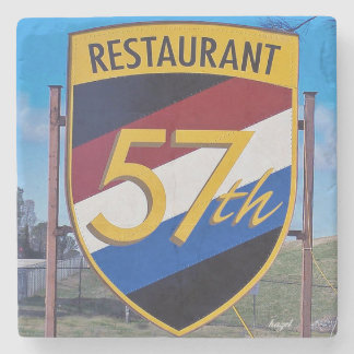 Chamblee, 57th Fighter Restaurant Sign, Georgia Stone Coaster