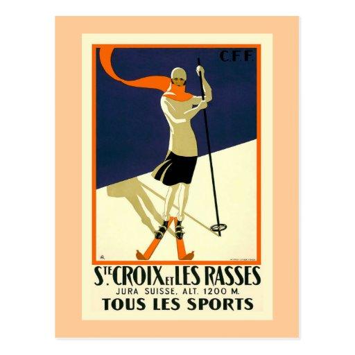 """""""Chambre Croix et voyage vintage suisse de Les Ras Carte Postale"""
