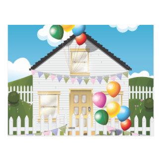Chambre drôle d'anniversaire avec Baloons Carte Postale