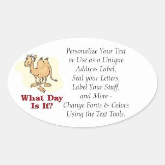 Chameau - quel jour est-il stickers ovales