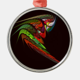 Chameleon Abstract Art Round Metal Ornament